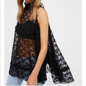 Free People Myrna Black Lace Swing Top XS